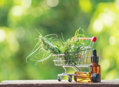 cannabis with cannabidiol (cbd) extract in a shopping cart